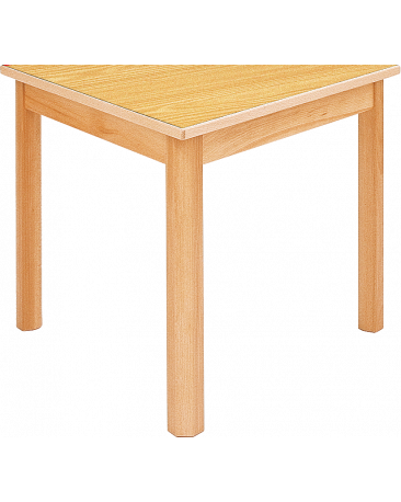 Spieltisch dreieckig mit Massivholzplatte