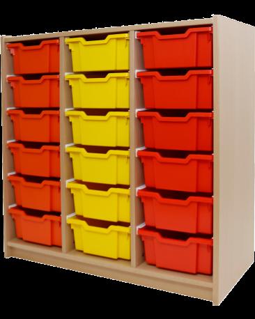 Materialschrank mit Kunststoffboxen
