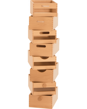 Schubkiste A4, Plexifront mit Holzknopf