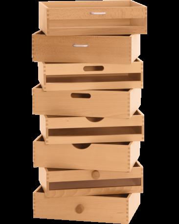 Schubkiste A3, Plexifront mit Holzknopf